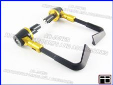 PAIR FRONT BRAKE AND CLUTCH LEVER PROTECTORS GOLD TRACK DAY, RACE, STREETBIKE